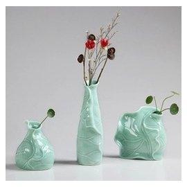 荷葉陶瓷 桌面花瓶 水培 花瓶花器 餐桌客廳 擺件幹花 花瓶插花TI