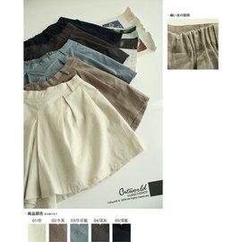 ~汪星人雜貨~ 素色打摺口袋褲裙 短褲 深灰 腰部鬆緊 修飾