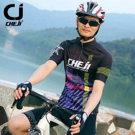 cheji騎行服男 短袖套裝山地車自行車衣騎行褲透氣修身帥氣
