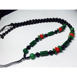 長管珠正料鐵龍森玉珠項鍊 全長約62公分 玉珠項鍊 中國結項鍊