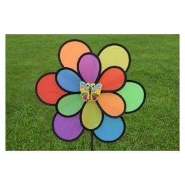 雙層黑邊布六彩風車 卡通風車 風車 兒童玩具 花園裝飾風車 露營風車  彩虹風車