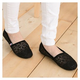 KM 女款休閒 蕾絲網狀 帆布鞋 懶人鞋 休閒鞋 平底鞋 MIT 黑色