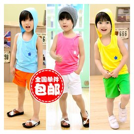2014夏裝 大 潮兒童寶寶男童女童T恤短褲表演服套裝