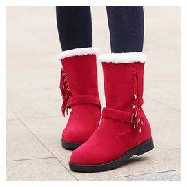 女靴中靴 磨砂平底中筒靴女平跟厚底內增高女鞋鼕季雪地靴