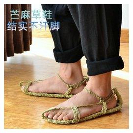 草鞋拖鞋男女純 黃麻編織鞋復古潮紅色紅軍 透氣大碼涼鞋