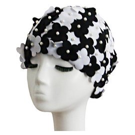 女士小95風 女花朵花瓣長短發泳帽純 立體花朵舒適布帽