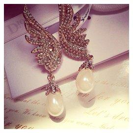 韓國貝殼珍珠天使的翅膀水鑽長款耳墜耳釘夜店辣妹耳環耳飾