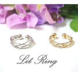 多層次鏤空開口戒指 ~金色 銀色 圓弧曲線 線條 編織 纏繞 網狀 鏤空  戒指 飾品~L