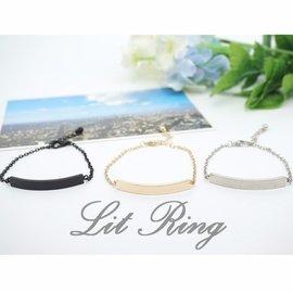 簡約金屬長方條手鍊~細鍊 細手鍊 長方形 一字 金色 銀色 黑色 飾品 情侶 手環 對鍊