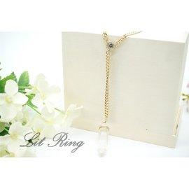 白色水晶柱墜飾項鍊~簡約 金色 天然石 鑲水鑽 方晶鋯石 墜子 Y字鍊 長項鍊 毛衣鍊 飾