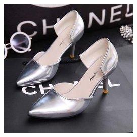 尖頭銀色單鞋高跟鞋 細跟包頭淺口女中空單鞋優雅女鞋子