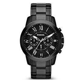 FOSSILFS4832 極致品味 羅馬時標三眼計時腕錶 黑黑鋼