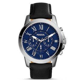FOSSILFS4990 羅馬時標 三眼計時腕錶 藍黑 44mm
