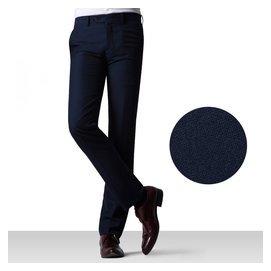 艾梵之家 西褲男修身 小腳商務紳士英倫免燙藏青色正裝長褲
