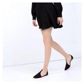 平跟單鞋絨面潮流 中空尖頭淺口 甜美 百搭包頭黑色涼鞋