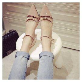 2016高跟扣帶百搭女士涼鞋子春秋夏韓國 鉚釘鏤空尖頭粗跟單鞋