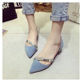 2016 韓國尖頭磨砂絨面平底平跟 側空淺口單鞋涼鞋 女