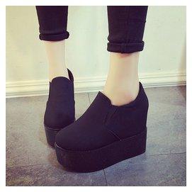 潮秋鼕 圓頭厚底松糕鞋女 短靴防水臺內增高高跟女靴子
