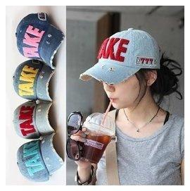 潮男女士春夏天兒童帽親子帽防曬鴨舌帽TAKE字母牛仔棒球帽子