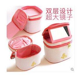 雙層大化妝包 大容量 多 女韓國可愛水桶化妝品收納包箱袋Eb364