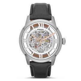 FOSSILME3041 典雅雋永精緻鏤空機械錶 銀黑 43m
