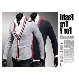 ~潮範~  男士修身 拼色包邊大V領 開衫針織外套條紋針織衫NRB03663