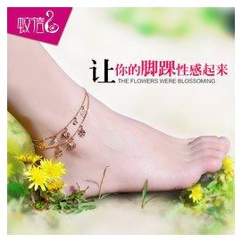 腳鏈 女   雙層 花兒朵朵 水晶飾品 包郵 電鍍18K金