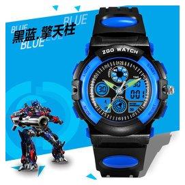 ZGO變形金剛兒童手表男孩 夜光防水 小學生LED 雙顯卡通腕表