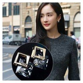 韓國復古簡約氣質水晶耳環摩登 S925防過敏潮人耳釘女耳飾
