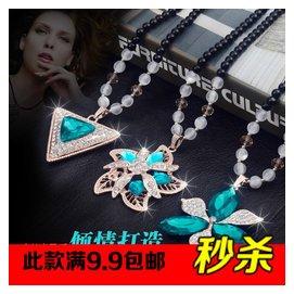 日韓國飾品 百搭裝飾項鏈 女 衣服掛件水晶配飾吊墜毛衣鏈