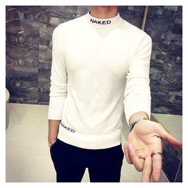 2016 半高領男士毛衣 修身打底套頭針織衫線衣男裝線衫
