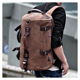 男士雙肩包潮男帆布包學院中學生書包 旅行電腦包圓筒背包