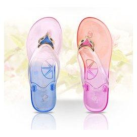 學生人字拖女平底透明沙灘鞋女涼鞋防滑夏天水晶韓國浴室拖鞋