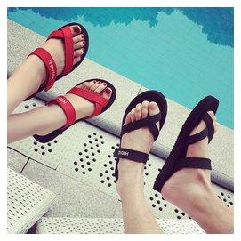 越南涼鞋女夏韓國ulzzang原宿布帶平底百搭學生簡約情侶沙灘鞋潮