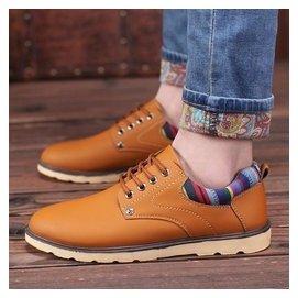 休閒鞋  男士 鞋大頭皮鞋男英倫系帶厚底工裝鞋男潮鞋