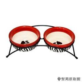 寵物餵食器寵物陶瓷碗狗碗雙孔狗盆泰迪貓碗貓食盆狗狗貓用品狗食盆雙碗~~