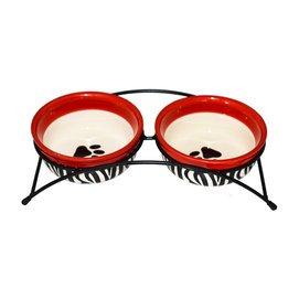 寵物餵食器寵物陶瓷碗狗碗雙孔狗盆泰迪貓碗貓食盆狗狗貓用品狗食盆雙碗