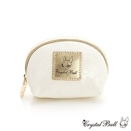 Crystal Ball狗頭包~ 兔帽Hippie壓紋零錢包~白色