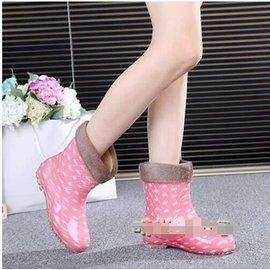 米子家居 波點春 女士雨鞋女加絨保暖水鞋中筒雨靴 套鞋防滑膠鞋1~20