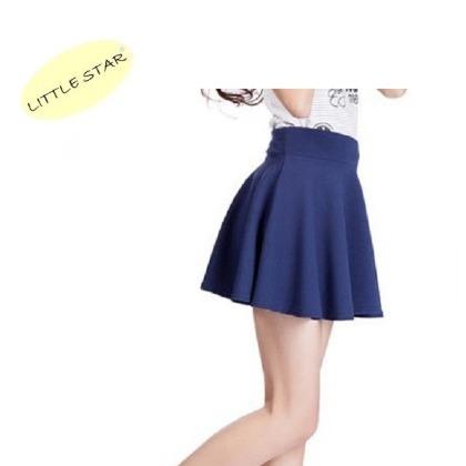 LITTLE STAR 小新星~防走光太陽裙~黑色~安全連褲素色三分短褲裙高腰半身裙百褶蓬