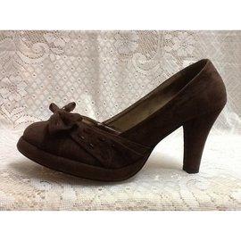 H28~咖啡色~仿麂皮絨面~厚底~高跟鞋 包鞋 娃娃鞋 涼鞋 休閒鞋 鞋 長短靴 裸靴~