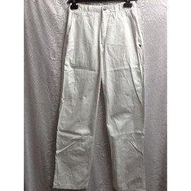 L09~3折清~純白色 百搭棉麻褲 牛仔褲 工作  休閒褲 長褲 短褲~丹寧 寬版 窄管