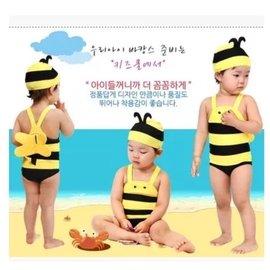 兒童小蜜蜂連身泳裝 附泳帽 連身泳衣 嬰兒泳裝 中性款 可泡溫泉 溫泉泳裝 童玩節 戲水