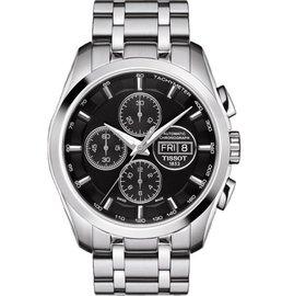TISSOT Couturier 建構師系列 三眼計時機械腕錶~黑 43mm T03561