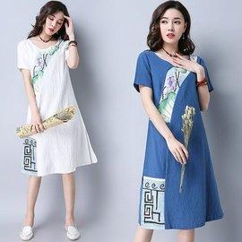 中國服飾 民族服飾 漢服 唐裝~4月11實拍B2002~c_48~O9085棉麻短袖中長款