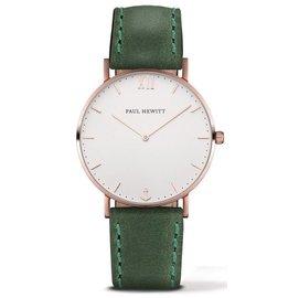 PAUL HEWITT Sailor Line 腕錶 玫瑰金框x白面 綠皮革錶帶