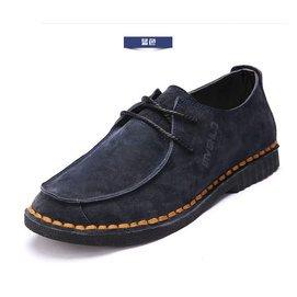 ^~男鞋真皮頭層牛皮日常 皮鞋大碼46碼青年學生繫帶百搭板鞋軟底