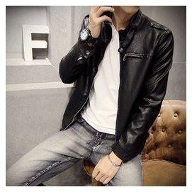 2015秋鼕男式皮衣英倫立領男裝 修身PU機車皮夾克外套男士青年
