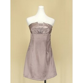 貞新 韓款 粉裸平口露肩緞面洋裝禮服伴娘服 F號 45575