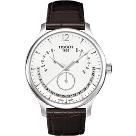 TISSOT Tradition 逆跳星期萬年曆石英腕錶~白 42mm T06363716